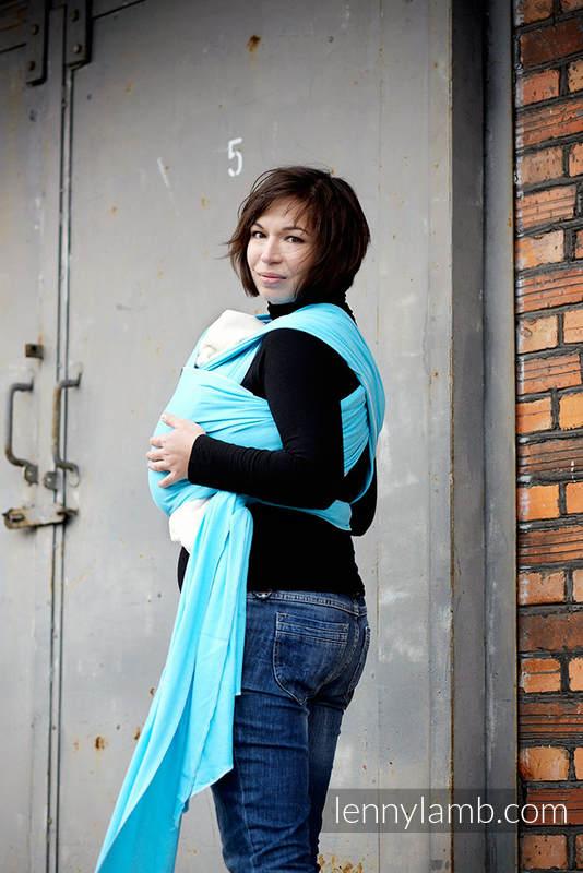 Chusta do noszenia dzieci, elastyczna - Lazur - rozmiar standardowy 5.0 m #babywearing