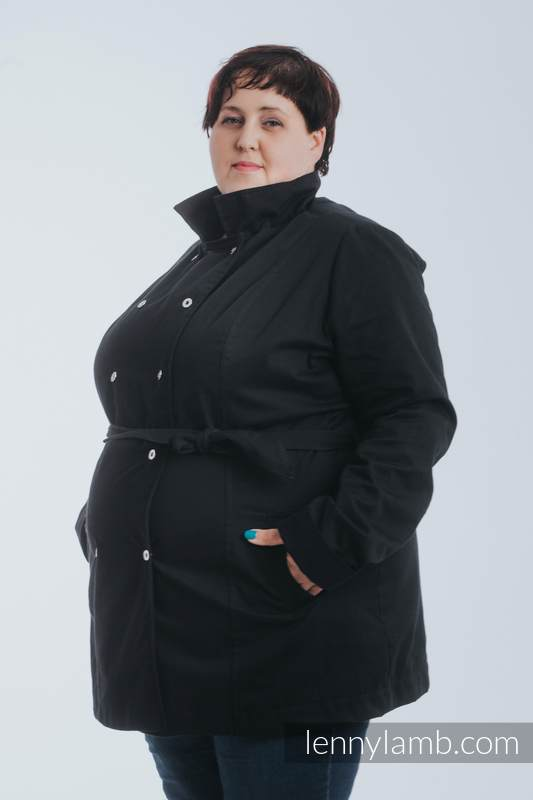 Babywearing trench coat - talla L - Negro (grado B) #babywearing