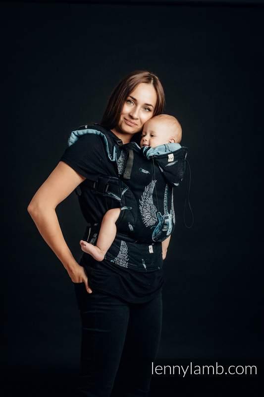 Nosidełko Ergonomiczne z tkaniny żakardowej, 100% bawełna , Toddler Size - SKRZYDLATE GITARY - Druga Generacja #babywearing