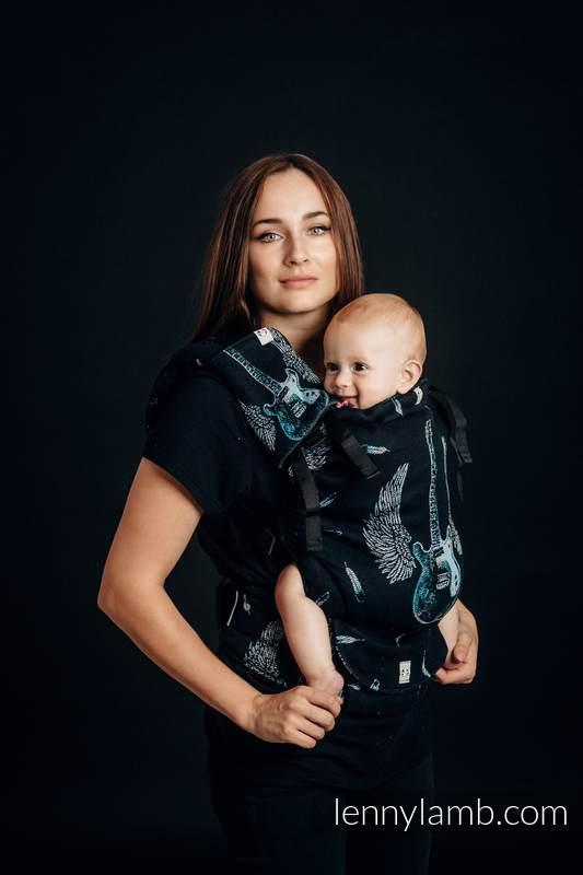 LennyUp Carrier, Standard Size, jacquard weave 100% cotton - WINGED GUITARS #babywearing
