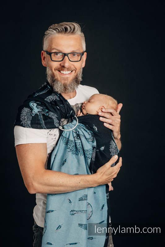 RingSling, Jacquardwebung (100% Baumwolle), Raffung an den Ringen - WINGED GUITARS - long 2.1m #babywearing