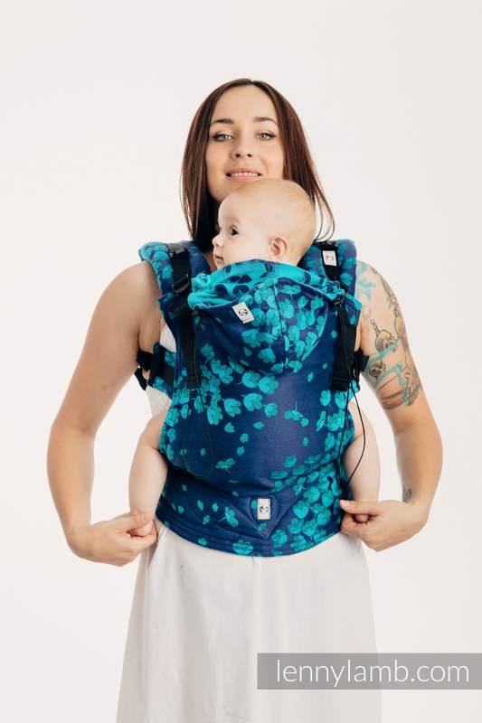 Nosidełko Ergonomiczne z tkaniny żakardowej (100% bawełna), Baby Size - FINEZJA - TURKUSOWY CZAR - Druga Generacja #babywearing