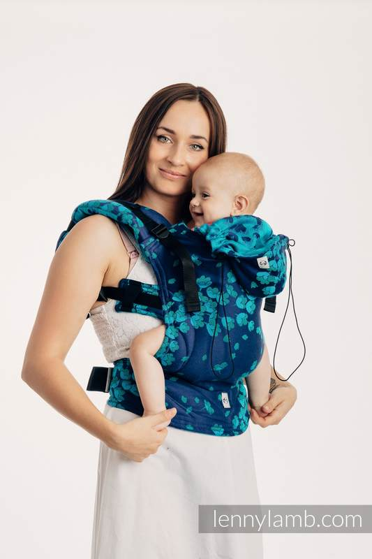 Ergonomische Tragehilfe, Größe Baby, Jacquardwebung, 100% Baumwolle - FINESSE - TURQUOISE CHARM - Zweite Generation #babywearing
