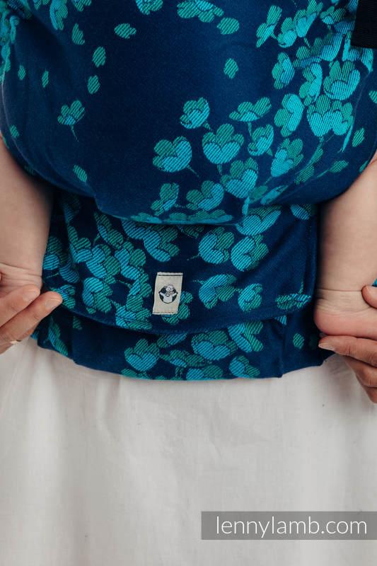 Mochila LennyUp, talla estándar, tejido jaquard 100% algodón - conversión de fular FINESSE - TURQUOISE CHARM #babywearing