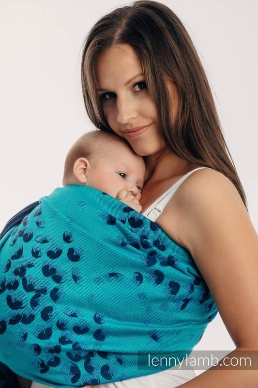 RingSling, Jacquardwebung (100% Baumwolle) - FINESSE - TURQUOISE CHARM - long 2.1m #babywearing