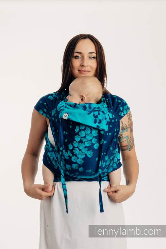 WRAP-TAI carrier Mini with hood/ jacquard twill / 100% cotton - FINESSE - TURQUOISE CHARM #babywearing