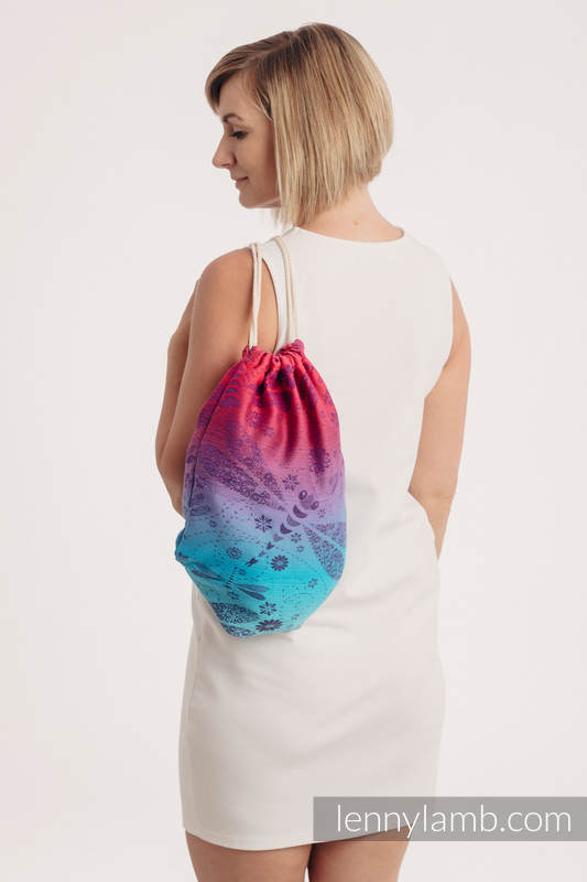Sackpack made of wrap fabric (100% cotton) - DRAGONFLY- FAREWELL TO THE SUN - standard size 32cm x 43cm #babywearing