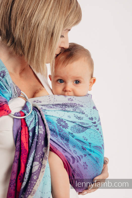 Ringsling, Jacquard Weave (100% cotton) - with gathered shoulder - DRAGONFLY- FAREWELL TO THE SUN #babywearing