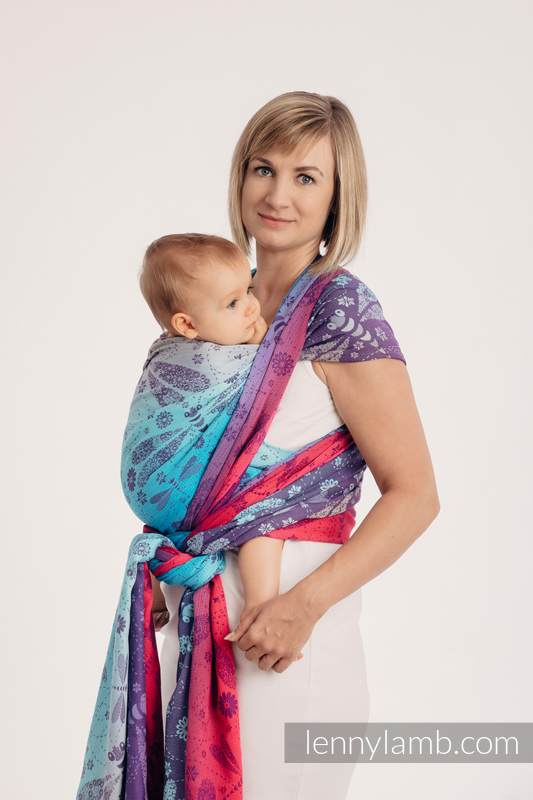 Baby Wrap, Jacquard Weave (100% cotton) - DRAGONFLY- FAREWELL TO THE SUN - size XS #babywearing
