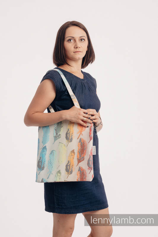 Shopping bag made of wrap fabric (100% cotton) - PAINTED FEATHERS RAINBOW LIGHT #babywearing