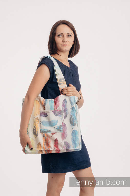 Shoulder bag made of wrap fabric (100% cotton) - PAINTED FEATHERS RAINBOW LIGHT - standard size 37cmx37cm #babywearing