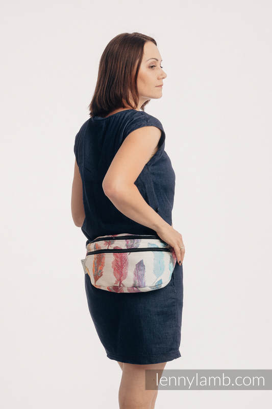 Waist Bag made of woven fabric, size large (100% cotton) - PAINTED FEATHERS RAINBOW LIGHT #babywearing