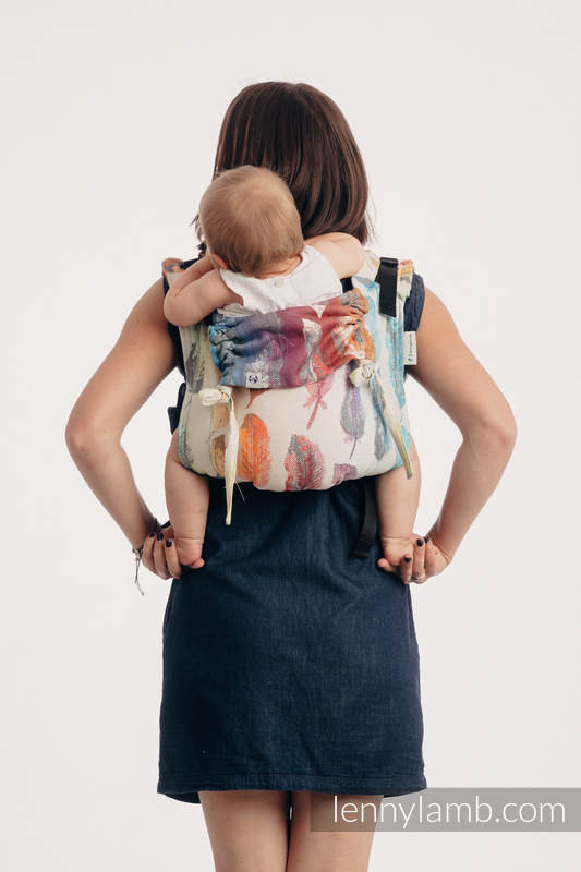 Lenny Buckle Onbuhimo baby carrier, standard size, jacquard weave (100% cotton) - PAINTED FEATHERS RAINBOW LIGHT #babywearing