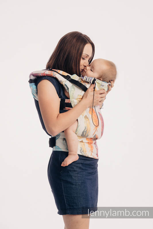 Ergonomic Carrier, Baby Size, jacquard weave 100% cotton - PAINTED FEATHERS RAINBOW LIGHT - Second Generation #babywearing