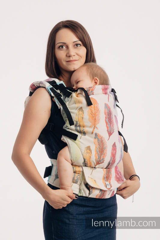 LennyUp Carrier, Standard Size, jacquard weave 100% cotton -PAINTED FEATHERS RAINBOW LIGHT #babywearing