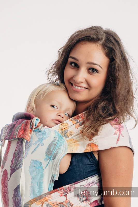 WRAP-TAI carrier Mini with hood/ jacquard twill / 100% cotton / PAINTED FEATHERS RAINBOW LIGHT #babywearing
