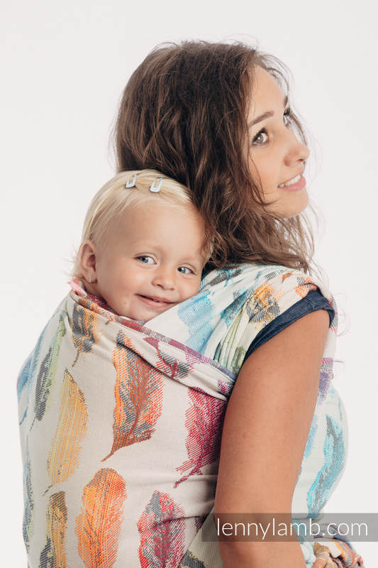 Baby Wrap, Jacquard Weave (100% cotton) - PAINTED FEATHERS RAINBOW LIGHT - size XS #babywearing