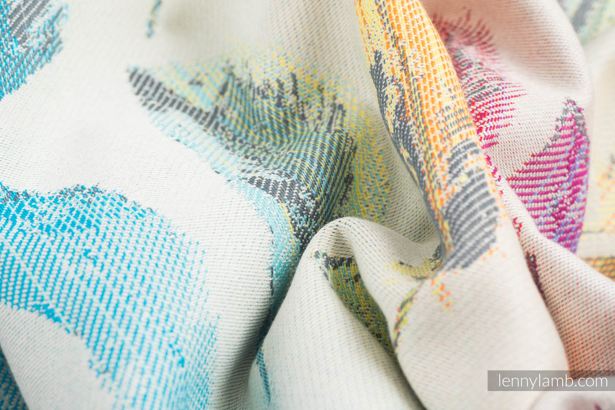 Baby Wrap, Jacquard Weave (100% cotton) - PAINTED FEATHERS RAINBOW LIGHT - size XS (grade B) #babywearing