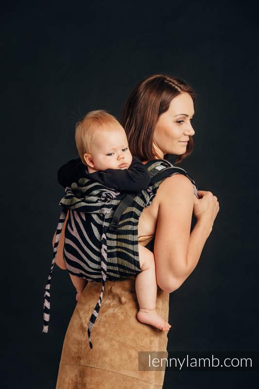 Lenny Buckle Onbuhimo Tragehilfe, Größe Standard, Jacquardwebung  (65% Baumwolle, 35% Leinen) - ZEBRA - SHADE OF ACACIA #babywearing