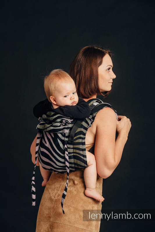 Lenny Buckle Onbuhimo baby carrier, standard size, jacquard weave (65% cotton, 35% linen) - SHADE OF ACACIA #babywearing