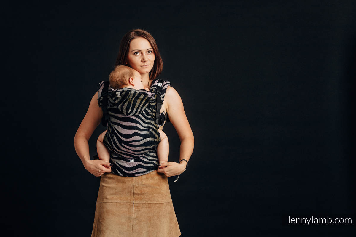 Ergonomic Carrier, Baby Size, jacquard weave, (65% cotton, 35% linen) - ZEBRA - SHADE OF ACACIA, Second Generation #babywearing