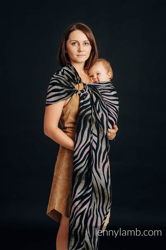 Ringsling, Jacquard Weave, with gathered shoulder (65% cotton, 35% linen) - SHADE OF ACACIA - long 2.1m #babywearing