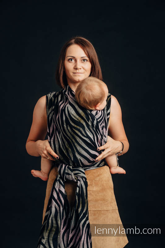 Baby Wrap, Jacquard Weave (65% cotton, 35% linen) - SHADE OF ACACIA - size XS #babywearing