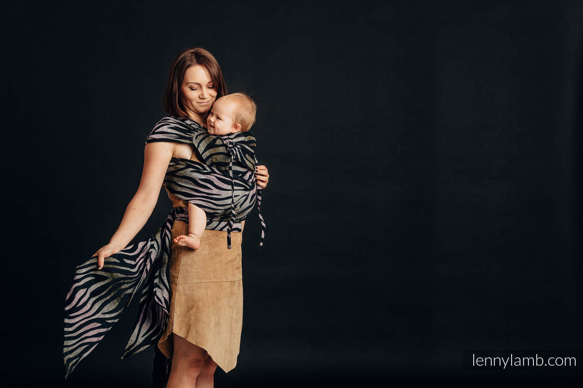 WRAP-TAI carrier Mini with hood, jacquard weave,  65% cotton, 35% linen - SHADE OF ACACIA #babywearing