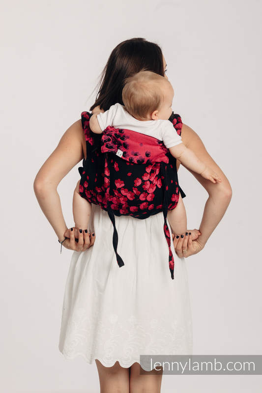 Lenny Buckle Onbuhimo baby carrier, standard size, jacquard weave (100% cotton) - FINESSE - BURGUNDY CHARM #babywearing