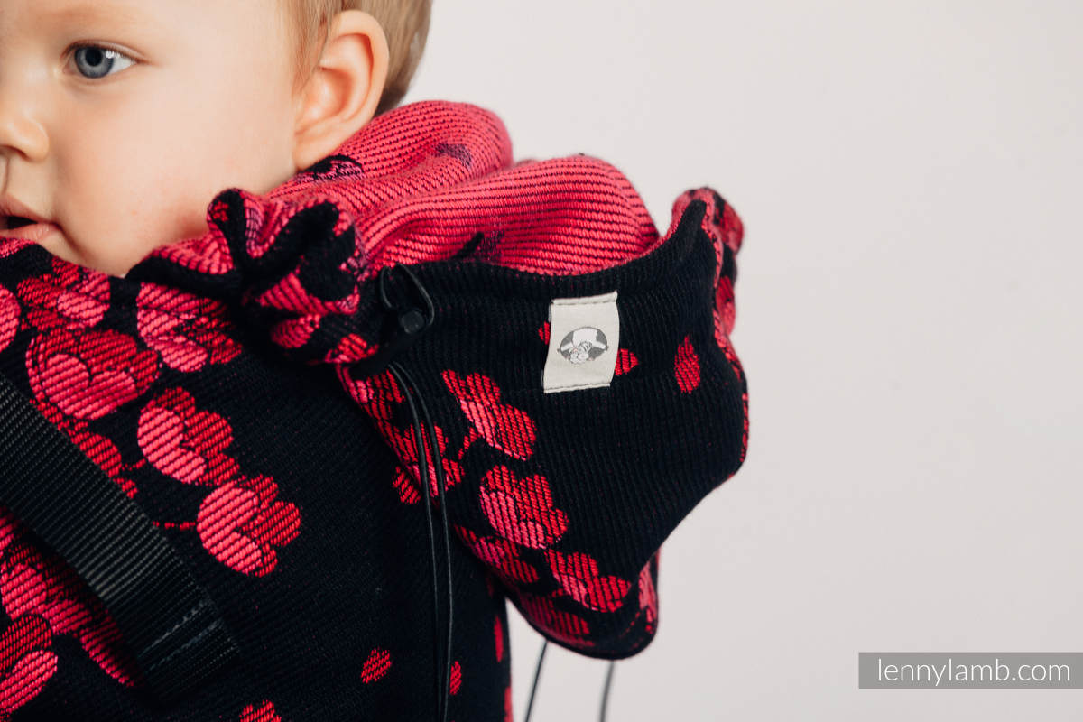 Ergonomic Carrier, Baby Size, jacquard weave 100% cotton - FINESSE - BURGUNDY CHARM - Second Generation #babywearing