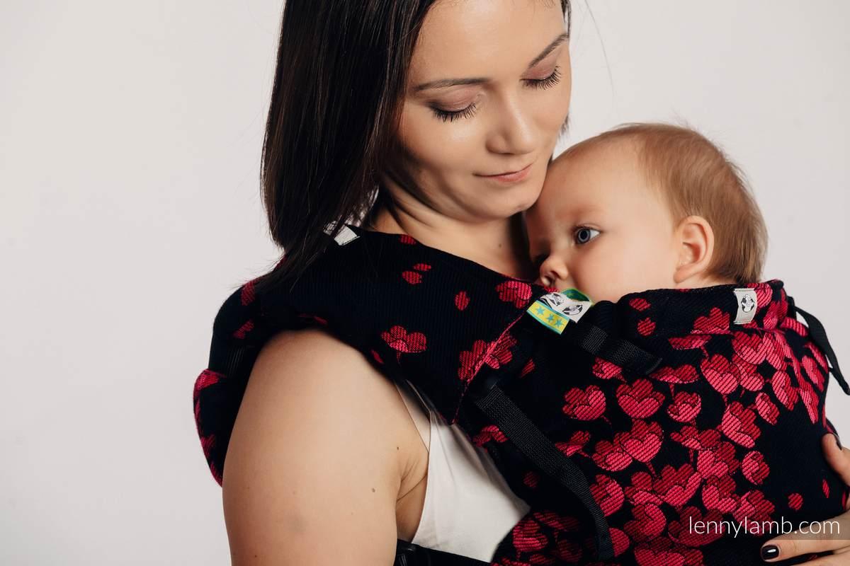 LennyUp Carrier, Standard Size, jacquard weave 100% cotton - FINESSE - BURGUNDY CHARM #babywearing