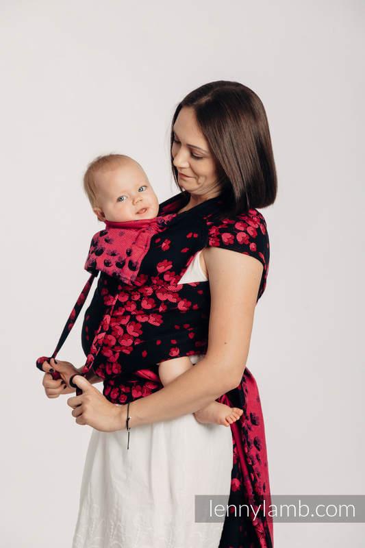 WRAP-TAI carrier mini with hood/ jacquard twill / 100% cotton - FINESSE - BURGUNDY CHARM #babywearing