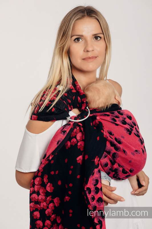 Ringsling, Jacquard Weave (100% cotton) - with gathered shoulder - FINESSE - BURGUNDY CHARM - long 2.1m #babywearing