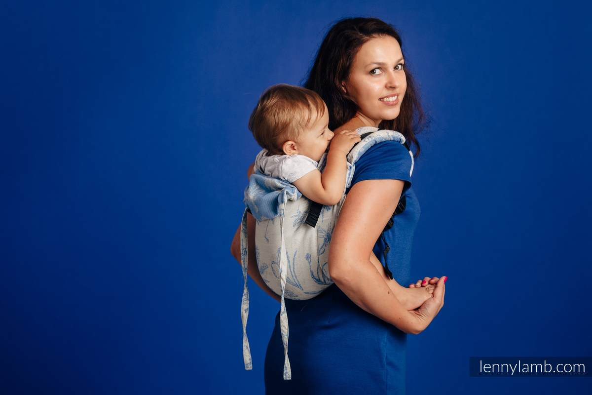 Lenny Buckle Onbuhimo, standard size, jacquard weave (100% cotton) - Wrap conversion from HERBARIUM - CORNFLOWER MEADOW #babywearing