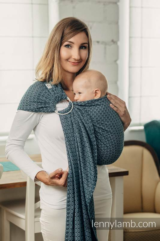 Basic Line Ring Sling - LITTLE LOVE - OCEAN BLUE - 100% Cotton - Jacquard Weave -  with gathered shoulder  #babywearing