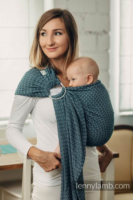 Basic Line Ring Sling - LITTLE LOVE - OCEAN BLUE - 100% Cotton - Jacquard Weave -  with gathered shoulder - long 2.1m #babywearing