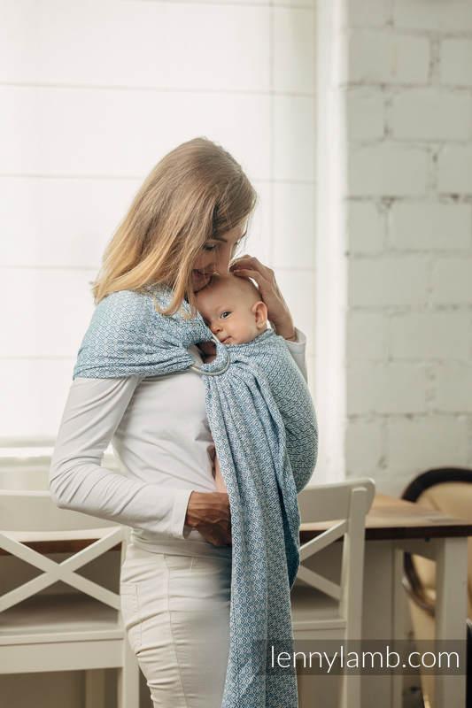 Bandolera de anillas Línea Básica - LITTLELOVE - SKY BLUE - 100% algodón, tejido jacquard - con plegado simple - long 2.1m #babywearing
