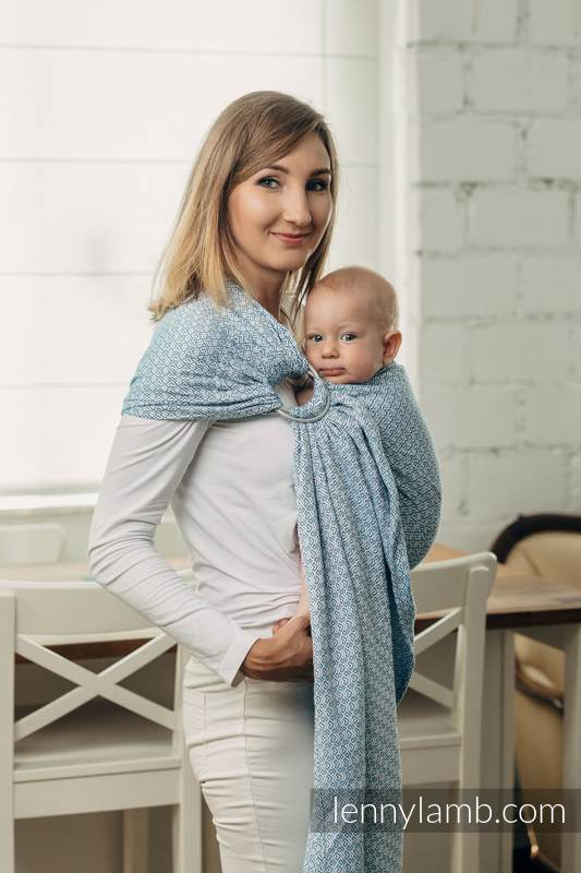 Basic Line Ring Sling - LITTLELOVE SKY BLUE - 100% Cotton - Jacquard Weave -  with gathered shoulder - standard 1.8m #babywearing