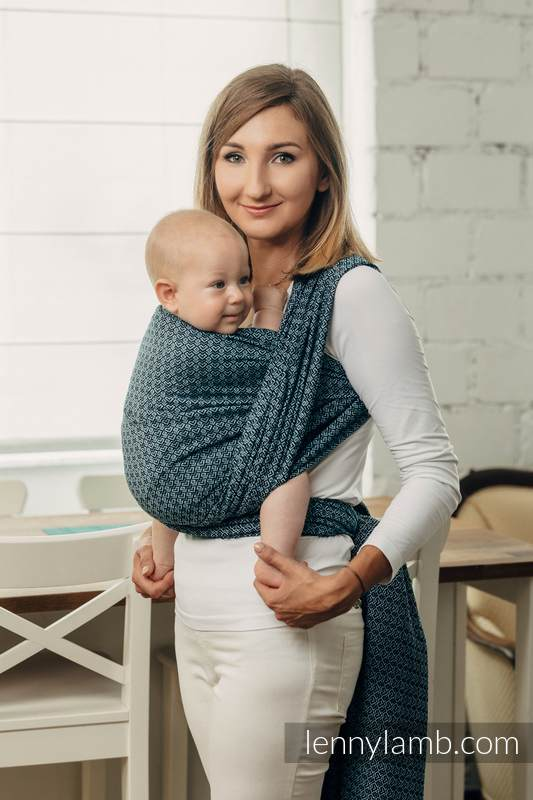 Basic Line Baby Sling - LITTLE LOVE - OCEAN BLUE, Jacquard Weave, 100% cotton, size XS #babywearing