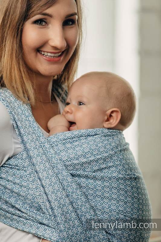 Basic Line Baby Sling - LITTLE LOVE - SKY BLUE, Jacquard Weave, 100% cotton, size S #babywearing