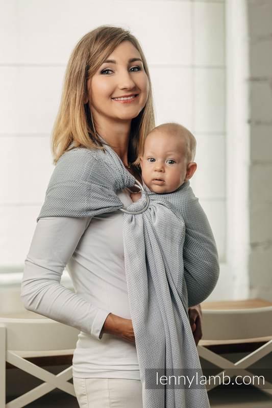Moja druga chusta kółkowa do noszenia dzieci, tkana splotem jodełkowym, bawełna, ramię bez zakładek - MAŁA JODEŁKA SZARA - long 2.1m (drugi gatunek) #babywearing