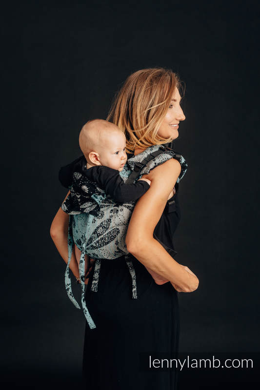 Lenny Buckle Onbuhimo, standard size, jacquard weave (60% cotton 28% linen 12% tussah silk) - Wrap conversion from  DRAGONFLY - TWO ELEMENTS #babywearing