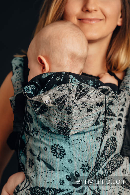 Ergonomic Carrier, Baby Size, jacquard weave 60% cotton 28% linen 12% tussah silk - wrap conversion from DRAGONFLY - TWO ELEMENTS, Second Generation #babywearing