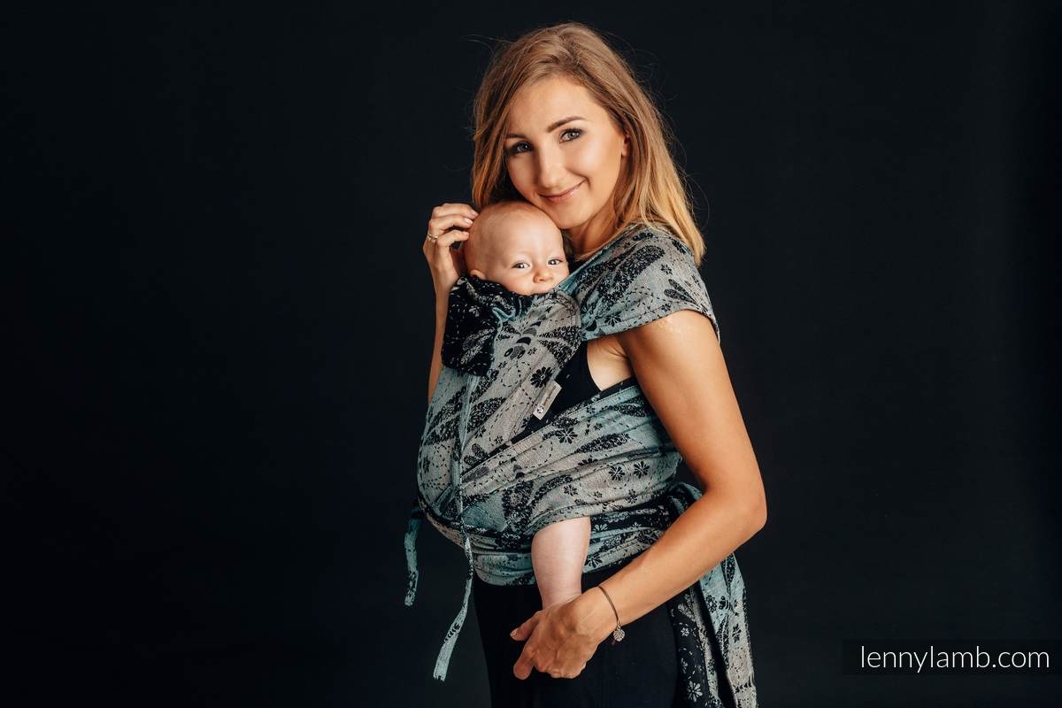 WRAP-TAI carrier Mini with hood/ jacquard twill / 60% cotton 28% linen 12% tussah silk - DRAGONFLY - TWO ELEMENTS #babywearing