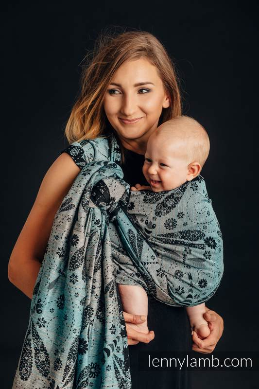 Baby Wrap, Jacquard Weave (60% cotton 28% linen 12% tussah silk) - DRAGONFLY - TWO ELEMENTS - size XS #babywearing