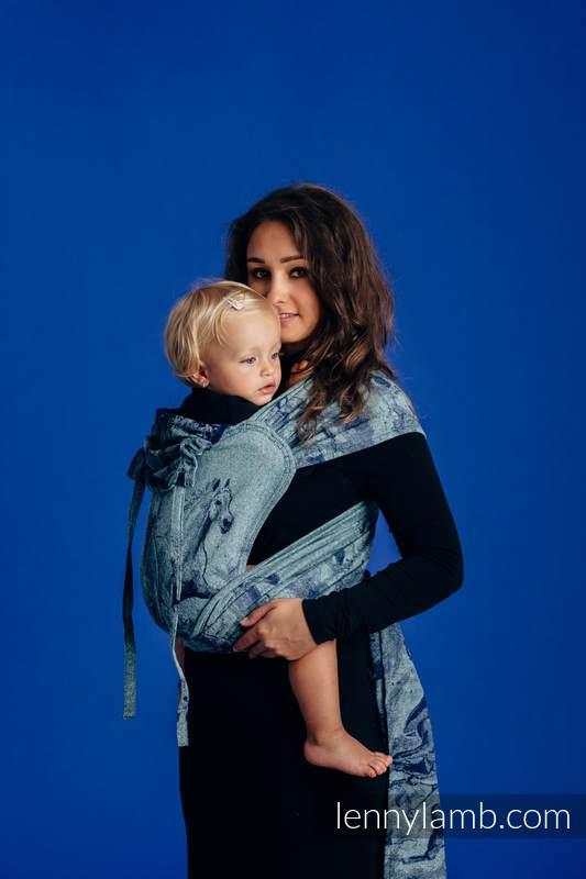 Nosidełko dla dzieci WRAP-TAI MINI, 62% bawełna 38% jedwab, splot żakardowy, z kapturkiem - GALOP - W POGONI ZA SPOKOJEM #babywearing