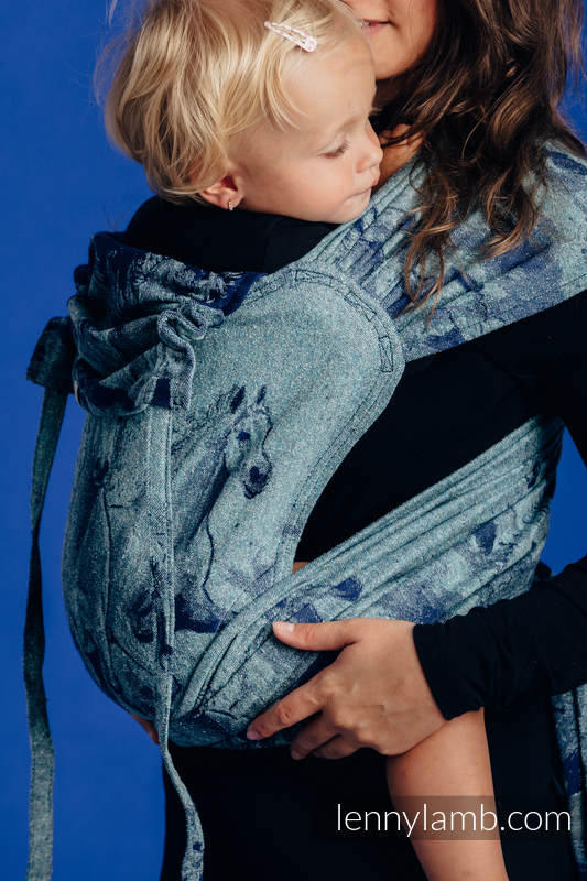 WRAP-TAI carrier Mini with hood/ jacquard weave - 62% cotton, 38% silk - GALLOP - CHASING SERENITY #babywearing