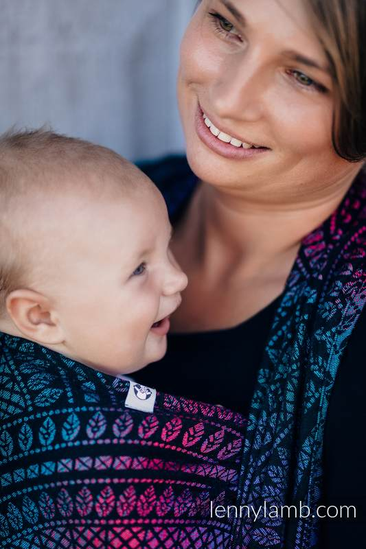 Fular, tejido jacquard (60% algodón, 28% lana merino, 8% seda, 4% cachemir) - PEACOCK'S TAIL - BLACK OPAL - talla S #babywearing