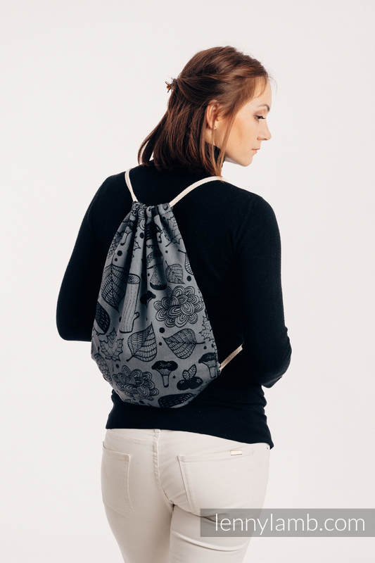 Sackpack made of wrap fabric (100% cotton) - UNDER THE LEAVES - NIGHT VENTURE - standard size 32cmx43cm #babywearing
