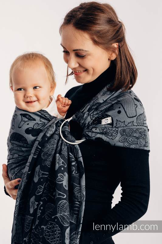Bandolera de anillas, tejido Jacquard (100% algodón) - con plegado simple -  UNDER THE LEAVES - NIGHT VENTURE - standard 1.8m #babywearing
